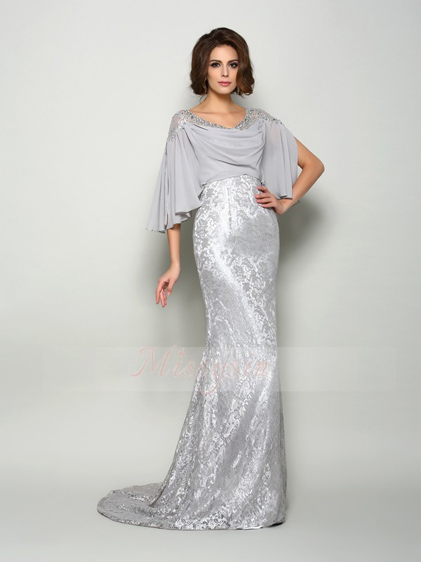 Trumpet/Mermaid Scoop Chiffon Sweep/Brush Train Lace 1/2 Sleeves Mother Of The Bride Dresses