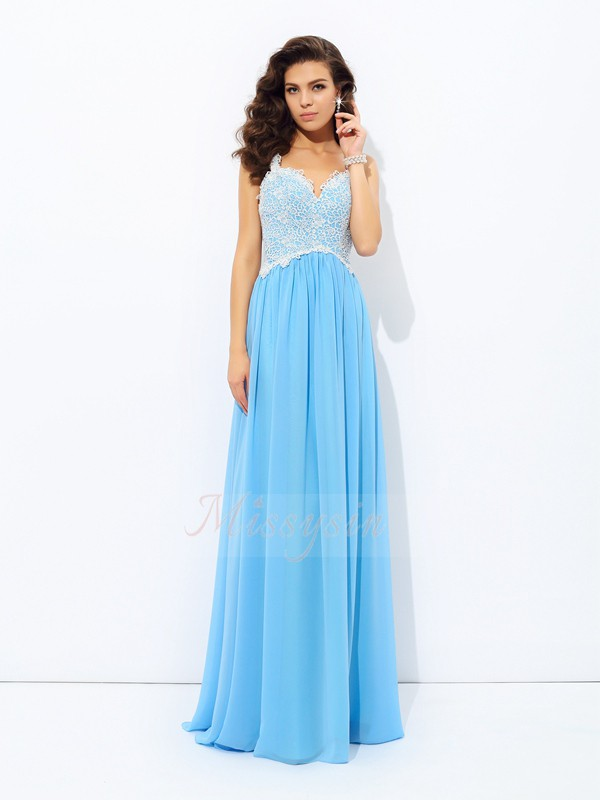 A-Line/Princess Chiffon V-neck Sleeveless Floor-length Dresses