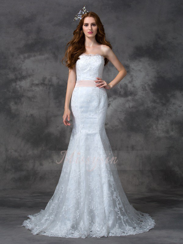 Trumpet/Mermaid Lace Strapless Sleeveless Sash/Ribbon/Belt Court Train Wedding Dresses