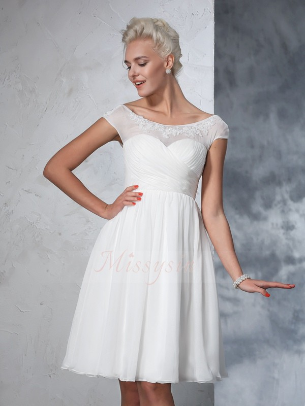 A-Line/Princess Chiffon Sheer Neck Short Sleeves Ruched Knee-Length Wedding Dresses