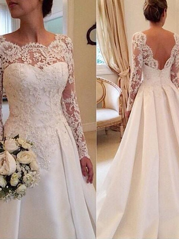 Ball Gown Scoop Satin Court Train Long Sleeves Wedding Dresses