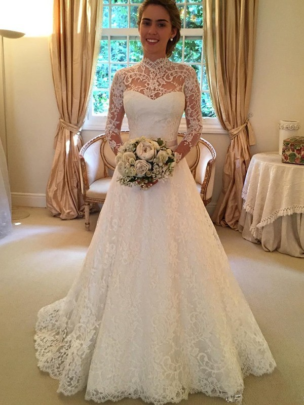 Ball Gown High Neck Lace Court Train Long Sleeves Wedding Dresses