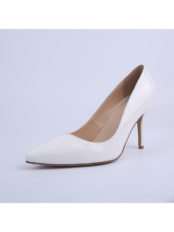 Women's Closed Toe Cone Heel Patent Leather High Heels