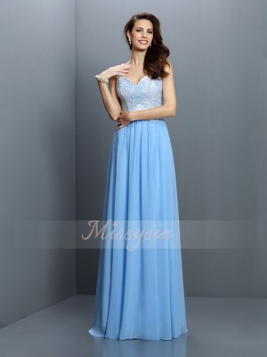 A-Line/Princess V-neck,Straps Chiffon Floor-Length Lace Sleeveless Bridesmaid Dress