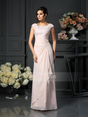 A-Line/Princess Scoop Chiffon Floor-Length Lace Sleeveless Mother Of The Bride Dresses