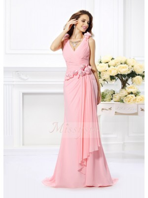 Trumpet/Mermaid V-neck Chiffon Sweep/Brush Train Hand-Made Flower Sleeveless Bridesmaid Dress