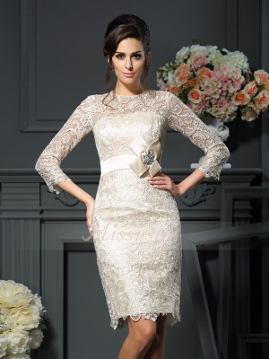 Sheath/Column Scoop Lace Short/Mini Bowknot 3/4 Sleeves Mother Of The Bride Dresses