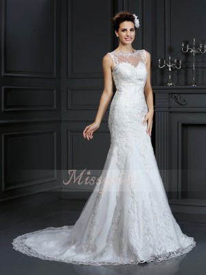 Sheath/Column Bateau Satin Court Train Lace Sleeveless Wedding Dress