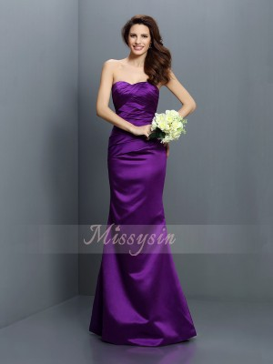 Trumpet/Mermaid Strapless Satin Floor-Length Pleats Sleeveless Bridesmaid Dress