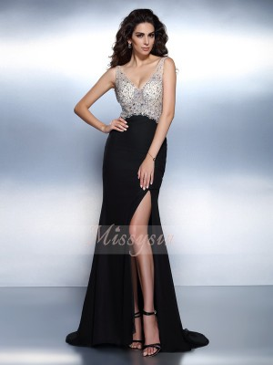 Trumpet/Mermaid V-neck Chiffon Sweep/Brush Train Beading Sleeveless Dress