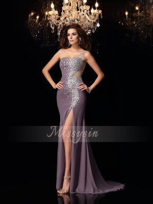 Trumpet/Mermaid One-Shoulder Chiffon Sweep/Brush Train Rhinestone Sleeveless Dress
