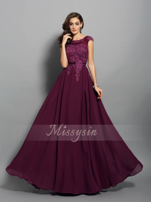 A-Line/Princess Scoop Chiffon Floor-Length Applique Sleeveless Dress