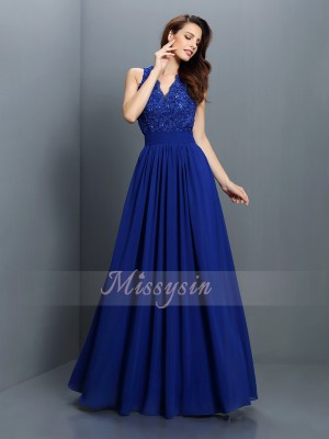 A-Line/Princess V-neck Chiffon Floor-Length Applique Sleeveless Bridesmaid Dress