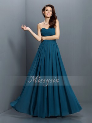 A-Line/Princess Sweetheart Satin Floor-Length Pleats Sleeveless Bridesmaid Dress