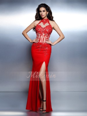 Trumpet/Mermaid High Neck Chiffon Floor-Length Beading Sleeveless Dress