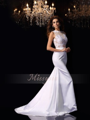 Trumpet/Mermaid High Neck Satin Chapel Train Applique Sleeveless Wedding Dress