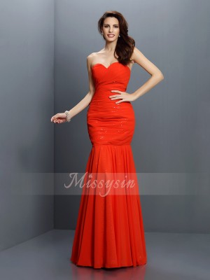 Trumpet/Mermaid Sweetheart Chiffon Floor-Length Pleats Sleeveless Bridesmaid Dress