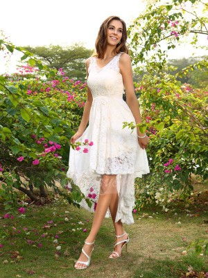 A-Line/Princess V-neck Lace Asymmetrical Lace Sleeveless Bridesmaid Dress