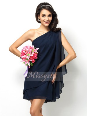 A-Line/Princess One-Shoulder Chiffon Short/Mini Sleeveless Bridesmaid Dress