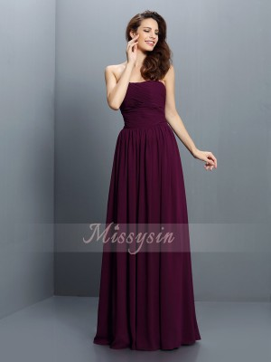 A-Line/Princess Strapless Chiffon Floor-Length Pleats Sleeveless Bridesmaid Dress