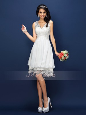 A-Line/Princess V-neck Satin Short/Mini Lace Sleeveless Bridesmaid Dress