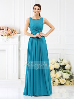 A-Line/Princess Bateau Chiffon Floor-Length Pleats Sleeveless Bridesmaid Dress