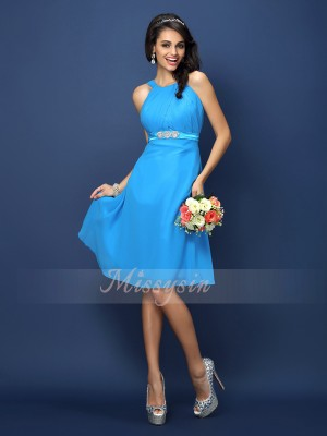 A-Line/Princess Bateau Chiffon Knee-Length Sash/Ribbon/Belt Sleeveless Bridesmaid Dress