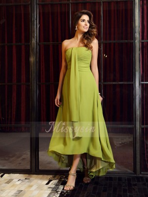 A-Line/Princess Strapless Chiffon Asymmetrical Sleeveless Bridesmaid Dress