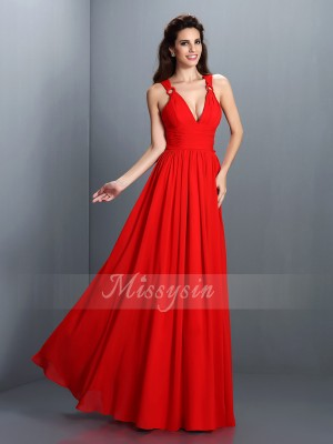 A-Line/Princess V-neck Chiffon Floor-Length Pleats Sleeveless Dress