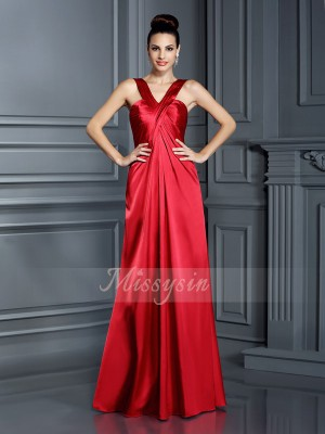 A-Line/Princess Straps Elastic Woven Satin Floor-Length Sleeveless Bridesmaid Dress