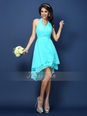 A-Line/Princess Halter Chiffon Short/Mini Pleats Sleeveless Bridesmaid Dress