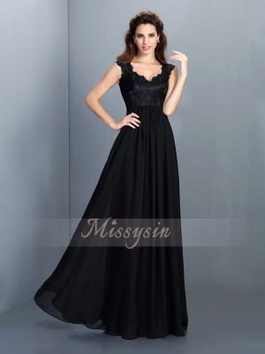 A-Line/Princess Scoop Chiffon Floor-Length Lace Sleeveless Bridesmaid Dress