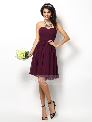 A-Line/Princess Sweetheart Chiffon Short/Mini Pleats Sleeveless Bridesmaid Dress