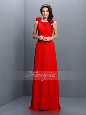 A-Line/Princess Bateau Chiffon Sweep/Brush Train Hand-Made Flower Sleeveless Bridesmaid Dress