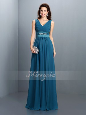 A-Line/Princess V-neck Chiffon Floor-Length Beading Sleeveless Bridesmaid Dress