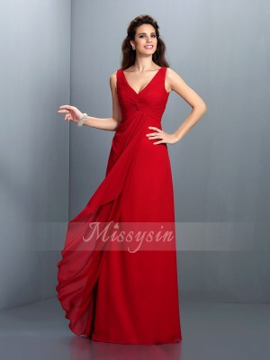 A-Line/Princess Straps Chiffon Floor-Length Pleats Sleeveless Dress