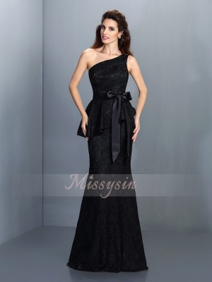Trumpet/Mermaid One-Shoulder Satin Floor-Length Lace Sleeveless Bridesmaid Dress