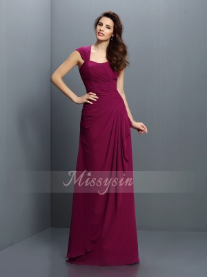 A-Line/Princess Straps Chiffon Floor-Length Pleats Sleeveless Bridesmaid Dress