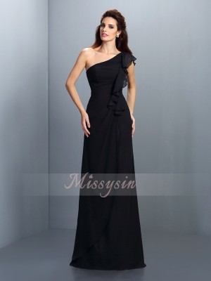 Sheath/Column One-Shoulder Chiffon Floor-Length Pleats Sleeveless Bridesmaid Dress