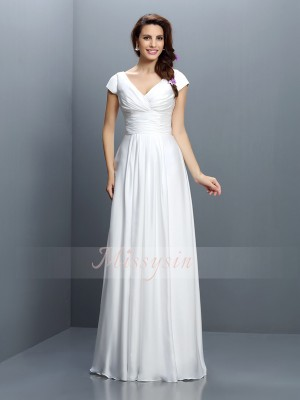 A-Line/Princess V-neck Chiffon Floor-Length Pleats Short Sleeves Bridesmaid Dress
