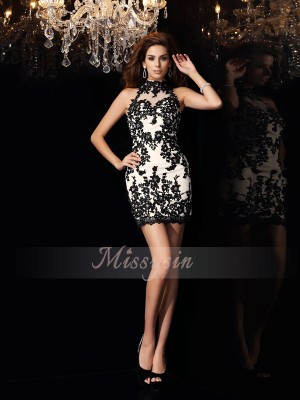 Sheath/Column High Neck Chiffon Short/Mini Beading,Applique Sleeveless Dress