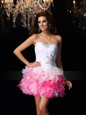A-Line/Princess Sweetheart Organza Short/Mini Ruffles Sleeveless Dress