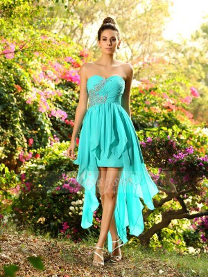 A-Line/Princess Sweetheart Chiffon Asymmetrical Beading Sleeveless Bridesmaid Dress