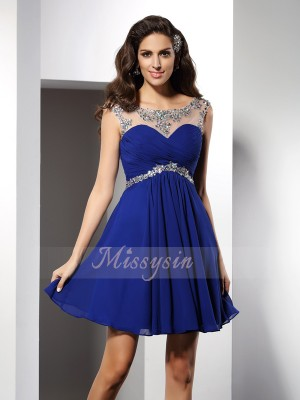 A-Line/Princess Scoop Chiffon Short/Mini Beading Sleeveless Dress