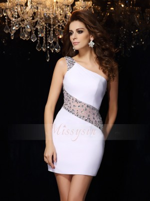 Sheath/Column One-Shoulder Chiffon Short/Mini Beading Sleeveless Dress