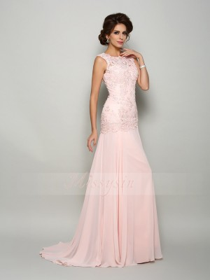 Trumpet/Mermaid Scoop Chiffon Sweep/Brush Train Beading,Applique Sleeveless Mother Of The Bride Dresses