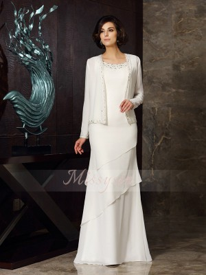 Sheath/Column Scoop Chiffon Floor-Length Beading Sleeveless Mother Of The Bride Dresses