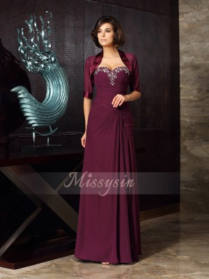 Sheath/Column Sweetheart Chiffon Floor-Length Beading Sleeveless Mother Of The Bride Dresses