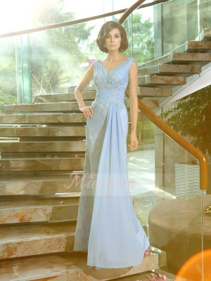 Sheath/Column V-neck Lace Floor-Length Beading,Applique Sleeveless Mother Of The Bride Dresses