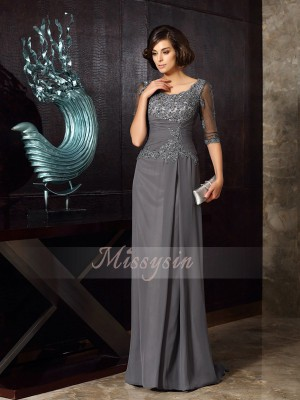 A-Line/Princess Scoop Chiffon Sweep/Brush Train Beading,Applique 1/2 Sleeves Mother Of The Bride Dresses
